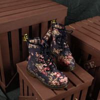 Fashion Retro Women's Flat Lace Up Vintage Floral Martin Boots Shoes