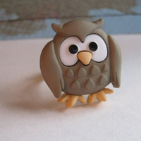 Cute Owl Ring Owl Adjustable Ring Owl Jewelry Gifts for Her Gifts Under 10 You Choose the Color