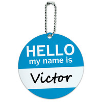 Victor Hello My Name Is Round ID Card Luggage Tag