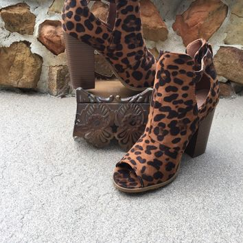 Leopard Peep Toe Booties