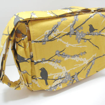 Bird Diaper Bag, Yellow Messenger Bag, Crossbody Bag, Yellow and Gray Bird and Floral Print