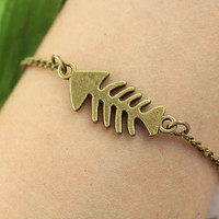 bracelet--fish bone bracelet,antique bronze charm pendant,bless wish bracelet,alloy chain