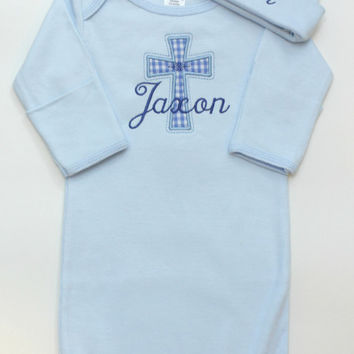 Baby Boys of Girls Cross Gown and Cap - Baptism - Religious - Coming Home - Easter - Christian Baby Shower Gifts