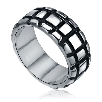 Stainless Steel Rectangle Pattern Ring
