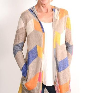 Taupe Chevron Hooded Cardigan