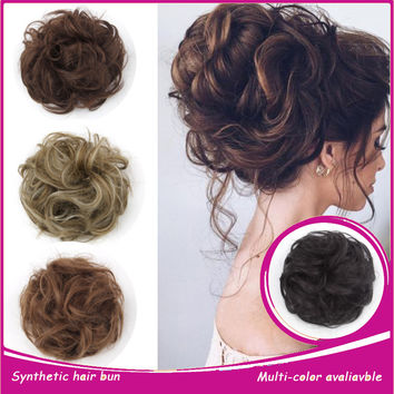 Hair Bun Extension 1PC Natural Synthetic Elastic Long Curly Wavy Hair Bun Hairpiece Messy Updo Scrunchie Hair Piece