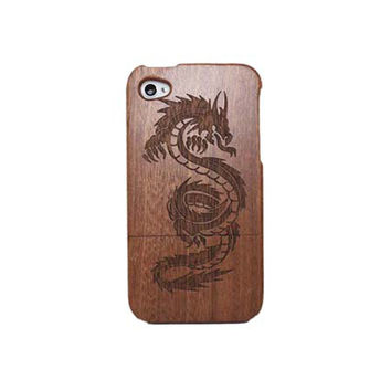 Dragon Carving Wooden Phone Case for iPhone 4 / iPhone 4S