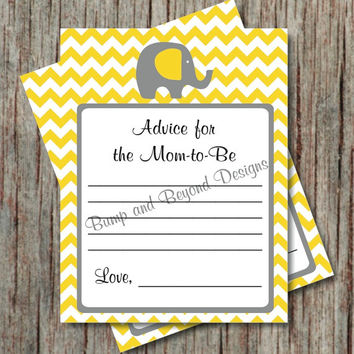 Chevron Yellow Grey Elephant Advice for New Mom Card Baby Shower Advice for Parents Cards Printable PDF Instant Download - 002