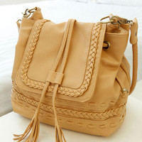 Leisure Retro Knit Fringed Shoulder Bag