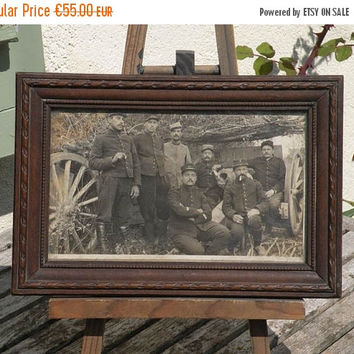 SALE-15% OFF French antique photo and frame, WW1 French photo, French artillery crew photo, vintage photo, antique photo, French photo, Fren