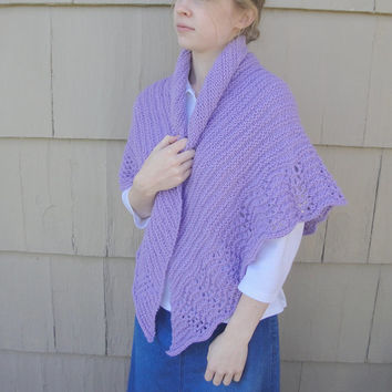 Lace Edged Shawl, Hand Knit, Lavender Purple, Prayer Shawl Wrap