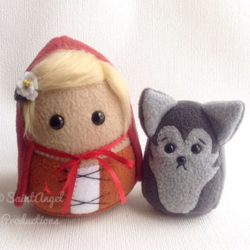 Little Red Riding Hood and Small Wolf Stuffed Plushies, MADE TO ORDER