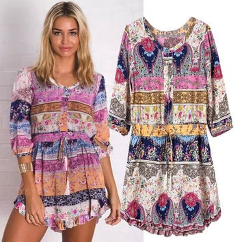 Women's Fashion Print Round-neck Half-sleeve Ruffle One Piece Dress [4918984964]