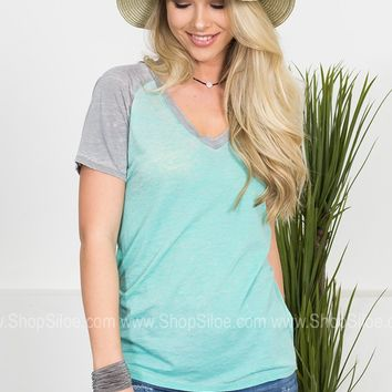 Easy Breezy Top | Teal & Grey