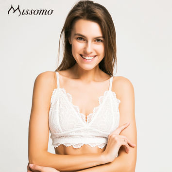 Missomo 2017 New Fashion Women Trim Underwear White Sexy Push Up Lace Bralettes Trim Underwear Adjustable Strap Soft Bras