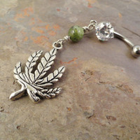 Marajuana Pot Leaf Belly Button Ring Body Jewelry