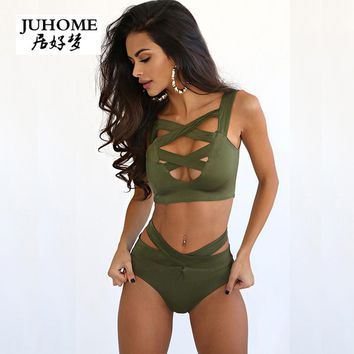 Sexy club rompers womens jumpsuit European Solid Two pieces outfit Cross Crop Top Sets Bandage summer bodysuit bandage overalls