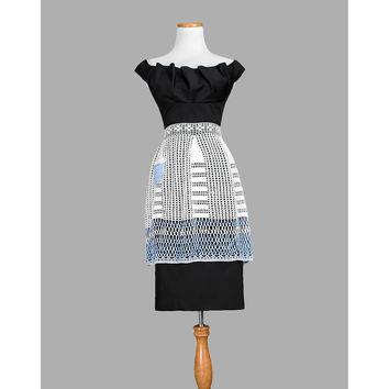 Vintage Crochet Apron - 1930s 40s Lace Apron - Blue and White Skirt Apron - 1940s 30s Half Apron