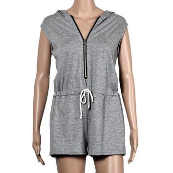 Casual Summer Playsuit Loose Hoodies Fitness Women Jumpsuit Zipper Sleeveless Sexy One Piece Outfits For Women#212