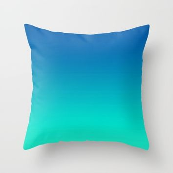 Teal Mint Ombre Throw Pillow by SimplyChic