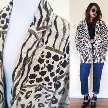 Vintage leopard zebra pattern african cream creme beige safari thick oversized jacket slouchy native ethnic tribal