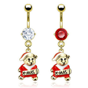 Gold Plated Belly Button Ring with Dangling Christmas Teddy Bear