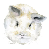 Watercolor Painting Baby Bunny Rabbit - 8 x 10 - Gray Nursery Art - 8.5 x 11 - Giclee Print