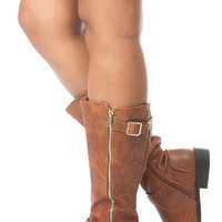 Chestnut Faux Leather Quilted Calf Length Boots