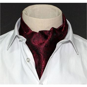 Men's Wine Red Paisley Gentleman Collection Ascot/Cravat Tie