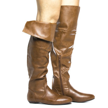 Zoria62 Over The Knee Almond Toe Faux Fur Lined Flat Boots