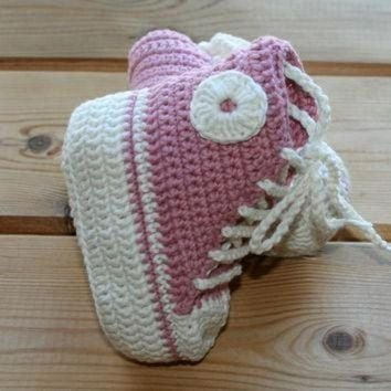 ICIKGQ8 organic cotton crochet baby girl converse style shoes boots booties pink ec