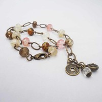 Antique Brass With Quartz Necklace, Gemstone Necklace, Pink, Brown, Clear Neckla