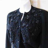 Lyle & Scott Vintage Bead and Sequin Embellished Black Cashmere Cardigan - Small-Medium Beaded Black Button Up Sweater/Jumper/Cardigan