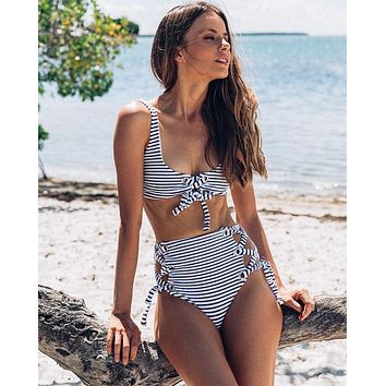 Beach Hot New Arrival Swimsuit Summer Swimwear Stripes High Waist Sexy Bandages Bikini [505885392911]
