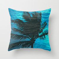 Swimming Palm Throw Pillow by Catspaws | Society6