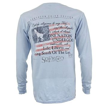 Southern Pledge Long Sleeve Tee Shirt in Chalky Blue by Southern Fried Cotton