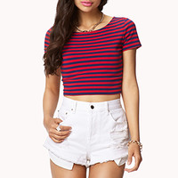 FOREVER 21 Striped Crop Top Navy/Red Large