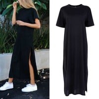 Women's Short Sleeve Long T-shirt Causal Loose Split Dress Boho Maxi Shirt Dress