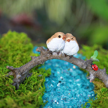 Fairy Garden Accessories Birds on Branch - terrarium supply - miniature garden supplies - lovebirds cake topper