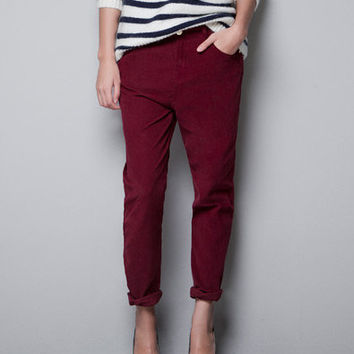 BAGGY CORDUROY TROUSERS - Trousers - TRF - ZARA United States
