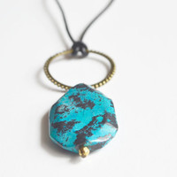Christmas in July. Geometric Stone Necklace.Chrysocolla Stone Pendant. Brass Circle and Leather Cord.