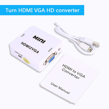 HDMI to VGA Converter With Audio HDMI2VGA 1080P Adapter Connector For PC Laptop to HDTV Projector  HDMI 2 VGA Converter