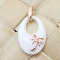 925 Silver Pink Rose Gold Hawaiian Coconut Palm Tree White Ceramic Oval Pendant