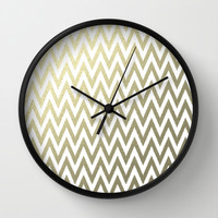 Gold Foil Chevron Wall Clock by Zen And Chic