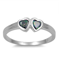 Sterling Silver Rainbow Mystic Topaz CZ Twin Heart Ring Size 1-5