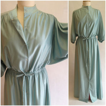 1960s Vanity Fair Long Sage House Coat, Robe, Loungewear with Crystal Bead Buttons