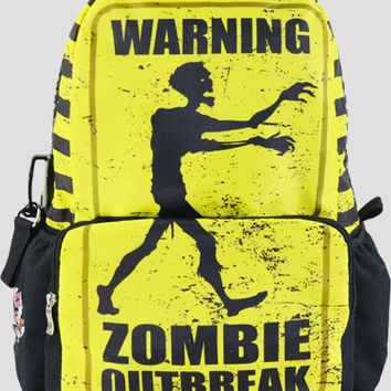 Black & Yellow Zombie Print School Backpack
