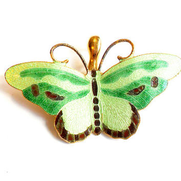 Vintage Guilloche Enamel Butterfly Pendant - Pastel Green - Gold Tone Metal - Insect Bug  - Wedding Bridal - Spring - 1970s Style