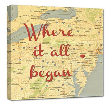 Romantic Map with Quote Art Customized with Places and Names 24X24 Custom Canvas
