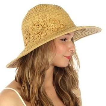 Women's Embroidered Floral Straw Hat Light Brown